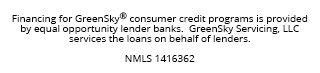 Financing for GreenSky© credit programs is provided by federally insured, federal and state chartered financial institutions without regard to race, color, religion, natinal origin, sex or familial status. NMLS #1416362; CT SLC-1416362; NJMT #1501607 C22
